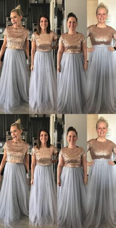 Two Piece Bridesmaid Dresses with Sequined Top from dressydances Cheap Dresses, Short Dresses, Prom Dresses, Formal Dresses, Wedding Dresses, Two Piece Bridesmaid Dresses, Bridesmaids, Marvel Wedding, Bridal Tops