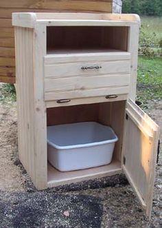 litter box cabinet....gives me an idea...