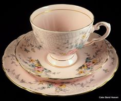 Tuscan Pink Tea Trio with Spiders Web Design