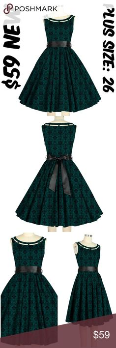 """Pocket Pin Up Clothing Dress 50s Vintage Plus Size Pin Up Dress ▶NEW WITHOUT TAGS ▶SIDE SEAM POCKETS ▶SIDE ZIPPER ▶MATERIAL: 97% COTTON AND 3% SPANDEX ▶BUST: 54"""" ▶WAIST: 46"""" ▶LENGTH: 42"""" ▶TAG SIZE IS 26 ▶#C16 Dresses"""