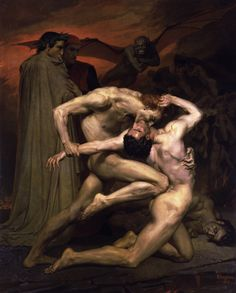 """Angry and quarrelsome counterfeiters"", from Dante's Inferno. Painting, ""Dante and Virgil in Hell"" (1850) by William-Adolphe Bourguereau. At the Musee d'Orsay, Paris."
