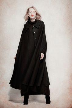 Black Cashmere Coat Wool Cloak Bing Swing wool by camelliatune