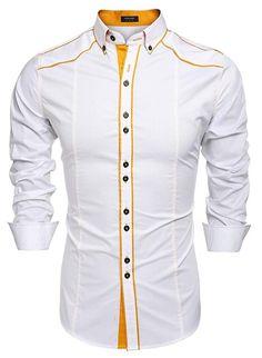 JINIDU Men's Slim Fit Dress Shirt Casual Button Down Shirts — EdensFab