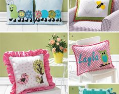 Simplicity 1929 Appliqued Pillow Sewing Pattern, Childs throw pillows, DIY