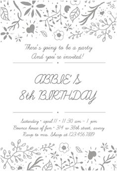 Dotted birthday invitation printable invitation customize add fun floral printable invitation template customize add text and photos print stopboris Image collections