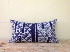 "Vintage Homespun Hemp Batik Hand Woven Pillow Case 12"" x 22"" Pieces Of Tribal Costume"