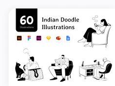 People Illustration, Line Illustration, Graphic Design Illustration, Social Media Pages, Sales And Marketing, Free Illustrations, Free Design, Create Yourself, Doodles