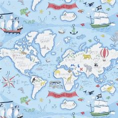 Sanderson wallpaper treasure map 214040 pinterest treasure treasure map wallpaper from sanderson abracazoo collection a delightful childrens wallpaper featuring a whimsical design of the continents and oceans gumiabroncs Gallery