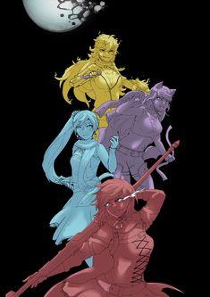 Rwby Raven, Pyrrha Nikos, Rwby Volume, Baby Blue Aesthetic, Rwby Characters, Rwby Comic, Team Rwby, Rwby Fanart, Group Shots
