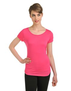PETER NYGARD Short Sleeve Lace Back Scoop Neck Tee
