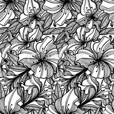 black and white floral pattern with spots of ink Monochrome Pattern, Free Vector Art, Royalty Free Images, Pattern Design, Illustration Art, Black And White, Patterns, Zentangle, Floral