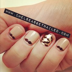 In honor of Movember (Mustache November)…I bring you mustache nails!  What I Used: -OPI Don't Pretzel My Buttons -Essie Good as Gold -OPI Suzi Loves Cowboys -Seche Vite top coat