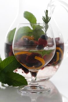 Berry Rosemary Spa Water Infused with Orange Curl and Fresh Mint