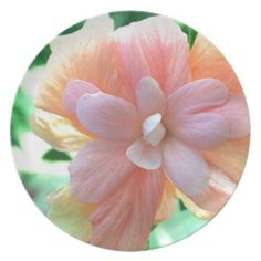 YELLOW ORANGE AND PINK HIBISCUS PLATES