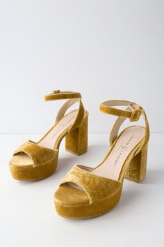 27fd3ad6fd3 We are blushing over the flirty design of the Chinese Laundry Theresa  Golden Yellow Velvet Platform