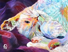 White cat painting  Morning original oil by AudreyPetPortraits