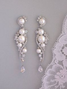 Pearl Bridal Earrings Crystal and Pearl Dangle by JamJewels1