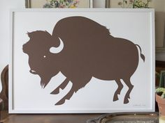 BANQUET ATELIER WORKSHOP - Image of Buffalo Art Print - chocolate brown