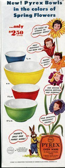 "Corning advertisement for Pyrex ""Primary Color"" mixing bowls. Ladies' Home Journal Spring 1946, pp. 244. CMGL 139754."