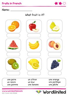 Children learning the French vocabulary for fruit will enjoy working through these activities. Colourful and realistic illustrations. French Flashcards, French Worksheets, Flashcards For Kids, Free Math Worksheets, French Kids, Free In French, Learning French For Kids, Teaching French, Family Tree Worksheet