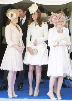 Matchy matchy: The Countess of Wessex ,The Duchess of Cambridge and The Duchess of Cornwall watching their husbands as they pass by during t...
