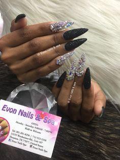 Bling Acrylic Nails, Bling Nails, Stiletto Nails, Arylic Nails, Birthday Nail Art, Diamond Nails, Nail Spa, Manicures, Acrylics