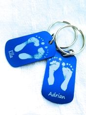 The LoveMotifs Sibling Keychain Set.  Perfect way to keep your children's footprints with you daily!  Sold in sets of 2.