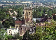 Malvern Priory, in Great Malvern, Worcestershire, England, was part of a mediaeval monastery before the dissolution under King Henry 8th. The tower, in which the Priory's characteristic multi-coloured stone can be seen, was constructed between 1440 and 1500 by masons fresh from Goucester Cathedral
