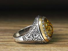 925-K-Sterling-Silver-Man-Ring-Yellow-Amber-10-75-US-Size-B23-65790