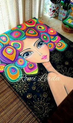 Pointillism, Dotillism, Dot Art, Mandala Art, on a frame.Beautiful painting of girl with multi colored hair by Romi LerdaCould be done with Quilling Mandala Art, Mandala Painting, Art Fantaisiste, Dot Art Painting, Fabric Painting, Art Pop, Whimsical Art, Mosaic Art, Doodle Art
