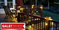 Buy now and save money with the huge start of season sale on Aurora Deck Lighting and Dekor Lighting fixtures now at DecksDirect! Take - off all Dekor and Aurora Lighting items and save money at DecksDirect. Outdoor Deck Lighting, Solar Deck Lights, Landscape Lighting, Outdoor Decor, Outdoor Decking, Landscape Plans, Landscape Design, Lighting Sale, Lighting Ideas