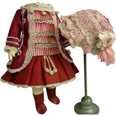 French tiny burgundy silk one-piece dolls dress and matching bonnet from stairwaytothepast on Ruby Lane