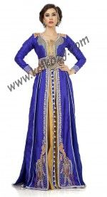 Effective Blue & Gold Color Jacket Style #Moroccan #Embroidered #Weeding #Kaftan