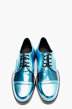NICHOLAS KIRKWOOD Bright Blue Metallic Leather Derbys