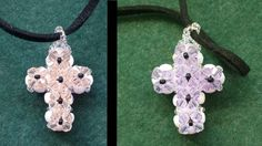 Double sided Cross pendant made with beading tutorial Cross Crafts, Bead Crafts, Jewelry Crafts, Leaf Jewelry, Cross Jewelry, Beaded Jewelry Patterns, Beading Patterns, Bracelet Patterns, Beaded Cross