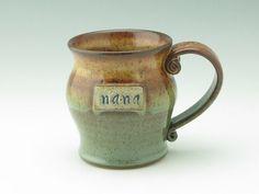 NANAs Handmade Coffee Mug, Pottery Large 16 oz Mug in Honey Brown and Sage Green, Stoneware Mug Ready to Ship Now. This mug is perfect for