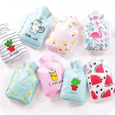 Cute Mini Hot Water Bottles Cartoon Hand Po Warm Water Bottle Small Portable Hand Warmer Water Injection Storage Bag Tools  Price: 1.36 USD