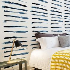 Wallpaper Mural Tricks: How to Choose and Install Removing Old Wallpaper, Paint Types, Hand Painted Walls, Striped Walls, Striped Wallpaper, Navy Stripes, Decoration, Bed Pillows, Wall Art