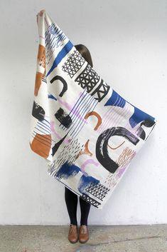 hand printed textile design   'Assemble/Configure' 2013 prints, by Laura Slater