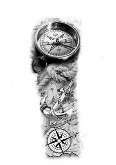 Half Sleeve Tattoos Drawings, Realistic Tattoo Sleeve, Cool Half Sleeve Tattoos, Half Sleeve Tattoos Designs, Forearm Sleeve Tattoos, Map Tattoos, Travel Tattoos, Ankle Tattoos, Arrow Tattoos