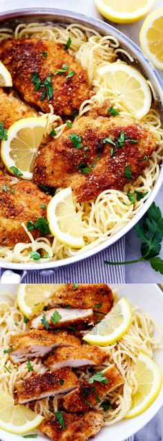 This Crispy Parmesan Chicken with Creamy Lemon Garlic Pasta from The Recipe Critic is just what your family wants for dinner this week! The chicken comes out crispy on the outside and tender on the in (Italian Recipes For Dinner) Pasta Recipes, Chicken Recipes, Dinner Recipes, Cooking Recipes, Healthy Recipes, Lemon Recipes, Summer Recipes For Dinner, Easy Summer Dinners, Cooking Ribs