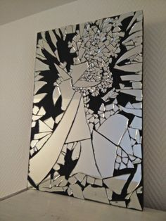 Items similar to Mirror mosaic table on Etsy Mirror mosaic table by RENAUDBIZART on Etsy Mosaic Wall Art, Mirror Wall Art, Mirror Mosaic, Diy Wall Art, Mosaic Glass, Diy Artwork, Artwork Ideas, Broken Mirror Diy, Broken Mirror Projects