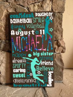 """Personalized Wooden Volleyball Teen Subway Art 12x20"""" on Etsy, $55.00"""