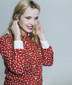 Julie Delpy in A.P.C. by Vanessa Seward shirt for T Magazine. Photograph by Arno Frugier. Fashion editor: Sara Moonves. Fashion assistant: Olivia Jade Horner. Hair by Tuan Anh Tran using Bumble and Bumble for Frankreps. Makeup by Dawn Broussard using NARS Cosmetics for Frankreps.