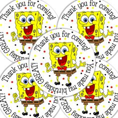 20 2 Inch round Spongebob Birthday sticker labels by bafoodle