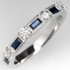 This beautiful wedding band features alternating baguette cut blue sapphires and round brilliant cut diamonds and is crafted of white gold and is currently a size Sapphire And Diamond Band, Rose Gold Diamond Ring, Diamond Bands, Diamond Wedding Bands, Blue Sapphire, Sapphire Rings, Sapphire Wedding, Wedding Rings, Baguette