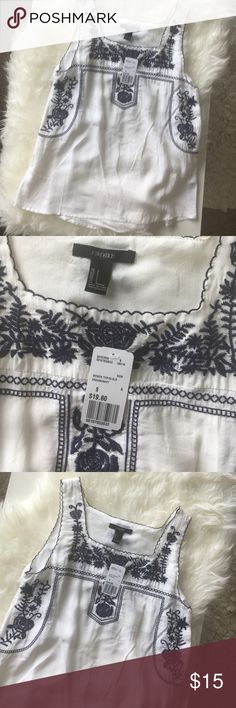 Forever 21 Embroidered Tank - NWT - Small NWT - GORGEOUS embroidered detailing! Blue and White Tank - anthropologie inspired design! Size small but has a long fit! Forever 21 Tops Tank Tops