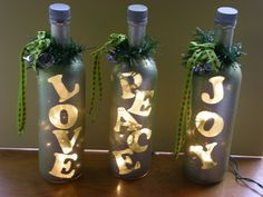 These lovely bottles share a message of Love, Peace, and Joy with friends and family. This is the first project toward a goal of 104 Pinterest Inspired