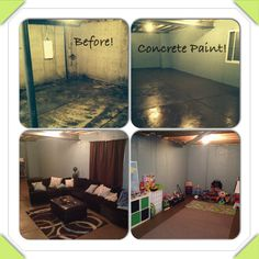 Basement on a budget! Turned unfinished basement into a kids playroom and living area. Used concrete paint on walls and floors and put flat sheets attached to wood beams with a staple gun in a pleated fashion to section off areas and hide AC/water heater equipment. Kids love it!!