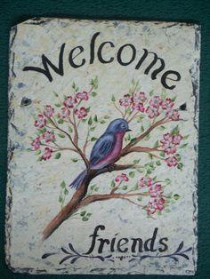 Slate Welcome Signs | Hanging Custom Hand Painted Slate Welcome Sign Plaque BLUEBIRD DOGWOOD